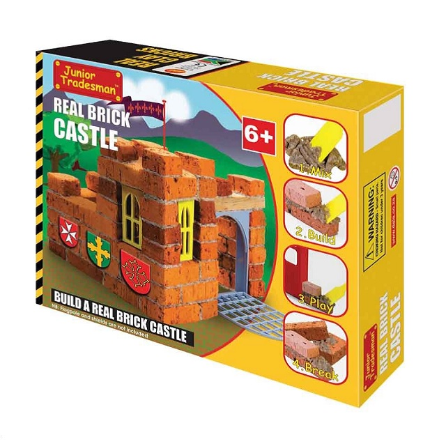 Brick Castle Kit - use real bricks, cemented together to build this castle with a drawbridge and windows!  Children learn the intricacies of basic construction with this kit.