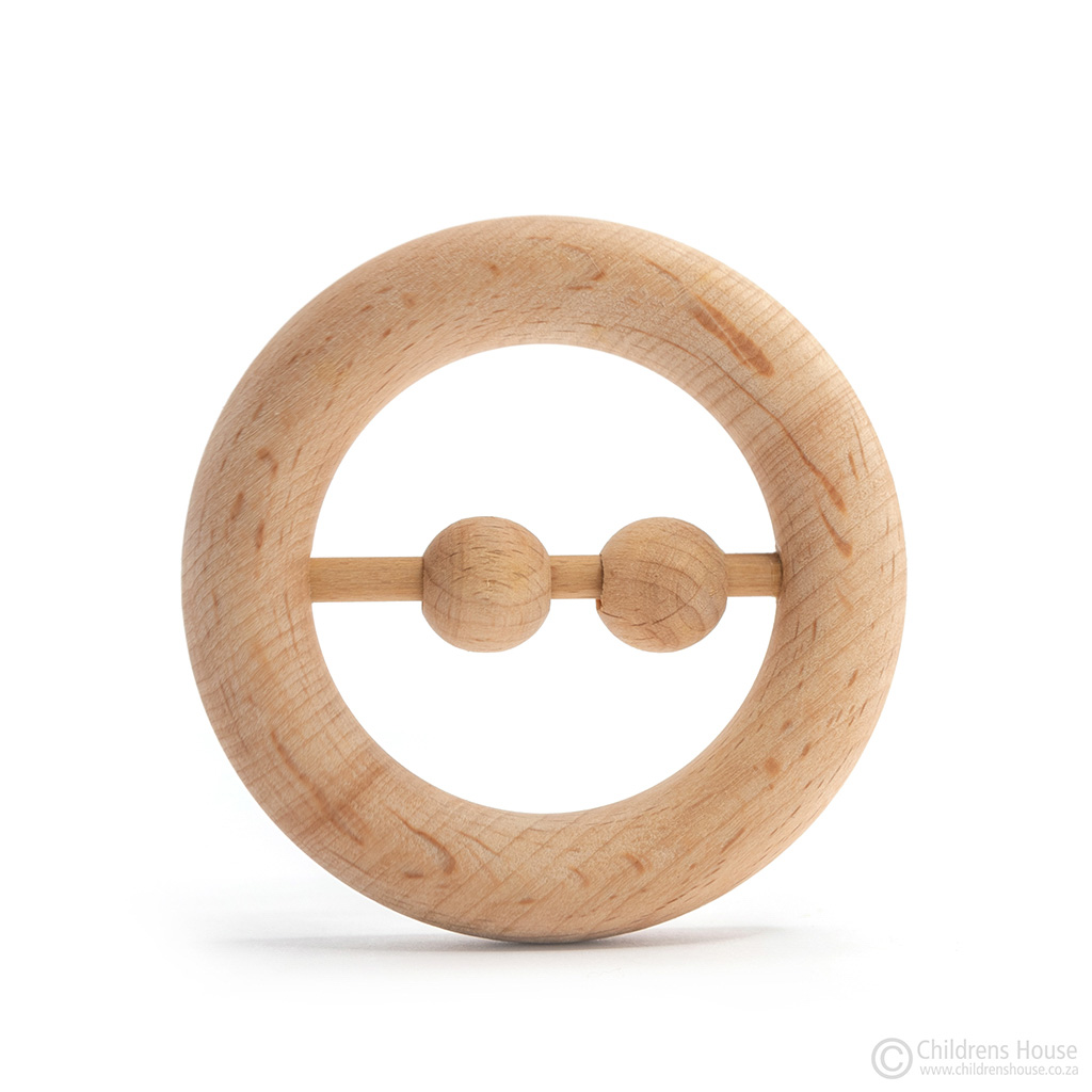 Wooden Rattle with 2 Beads