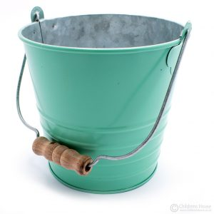 Metal bucket with wooden handle for toddlers
