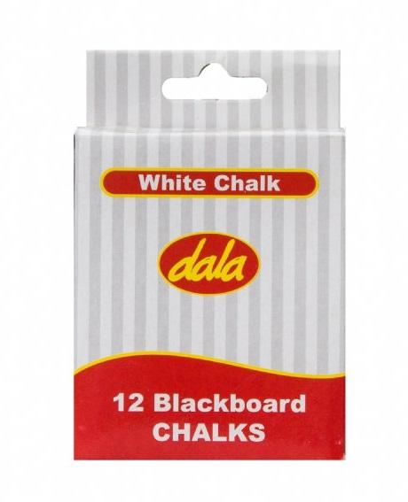 A box of 12 White Chalk Sticks